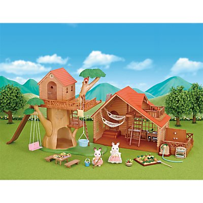 Sylvanian Families Treehouse and Log Cabin