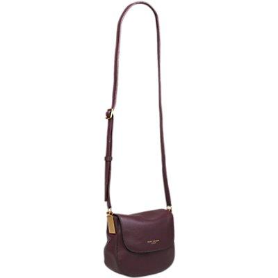 Kurt Geiger Emma Small Leather Saddle Bag, Wine