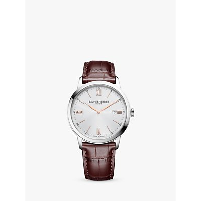 7613268895160 | Baume et Mercier M0A10415 Men s Classima Date Leather Strap Watch  Brown White