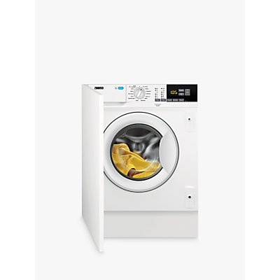 Zanussi Z814W85BI Integrated Washing Machine, 8kg Wash Load, A+++ Energy Rating, 1400rpm Spin, White