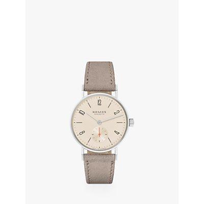 NOMOS Glashütte 151 Unisex Tangente Leather Strap Watch, Beige/Cream