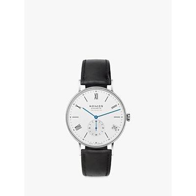 NOMOS Glashütte 260 Unisex Ludwig Automatic Date Leather Strap Watch, Black/White