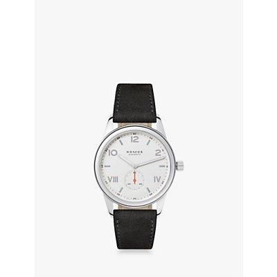 NOMOS Glashütte 737 Unisex Club Leather Strap Watch, Black/White