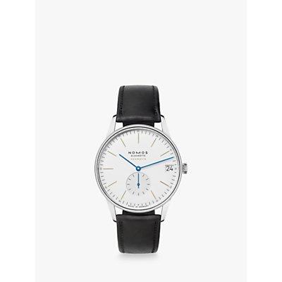 NOMOS Glashütte 360 Unisex Orion Automatic Date Leather Strap Watch, Black/White