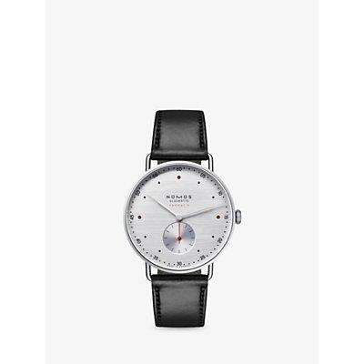 NOMOS Glashütte 1114 Unisex Automatic Leather Strap Watch, Black/Silver