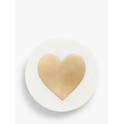 John Lewis & Partners Heart Marble Coaster, White/Brass