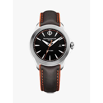 7613268895061 | Baume et Mercier M0A10411 Men s Clifton Leather Strap Watch  Black Silver
