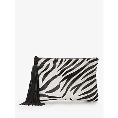 AND/OR Isabella Leather Animal Print Clutch Bag