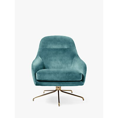 west elm Valentina Swivel Chair, Worn Velvet Dusty Teal