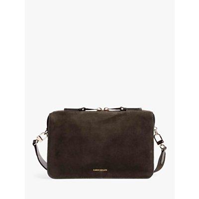 Karen Millen Compact Suede Cross Body Bag, Olive