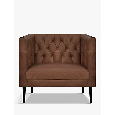 Halo William Leather Armchair, Natural Washed Chocolate