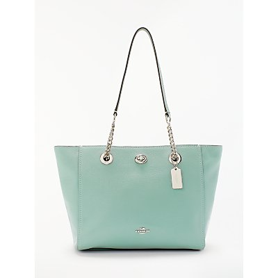 Coach Turnlock 27 Chain Leather Tote Bag, Sage