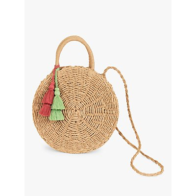 Powder Serena Paper Straw Tassel Round Cross Body Bag, Natural