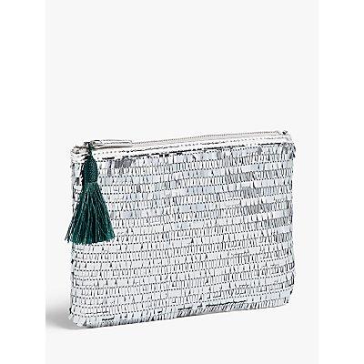 John Lewis & Partners Sequin Pouch Clutch Bag, Silver