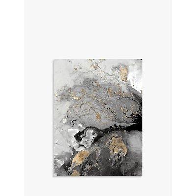 John Lewis & Partners - Ocean Splash I Canvas Print, 80 x 60cm, Grey/Gold