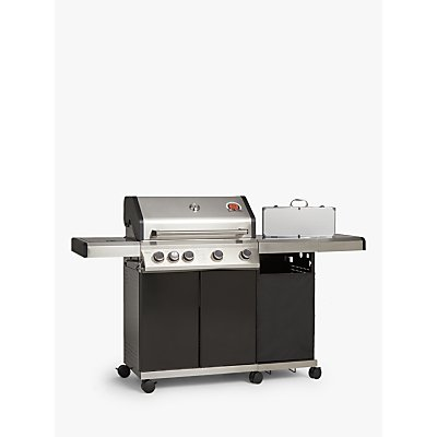 John Lewis & Partners 4 Burner Gas BBQ, Silver/Black