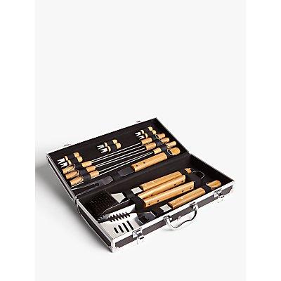 John Lewis & Partners Bamboo BBQ Tool Set & Case, 16 Piece