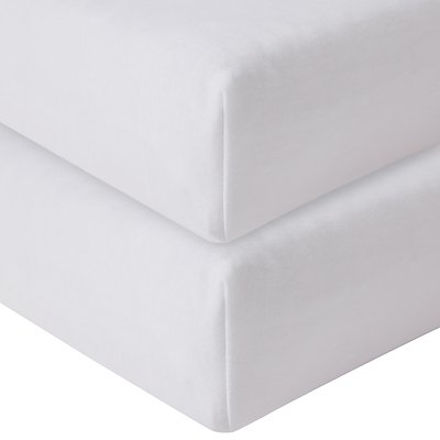 John Lewis & Partners Seconds GOTS Organic Cotton Fitted Travel Cot Sheet, 75 x 105cm, Pack of 2, Wh