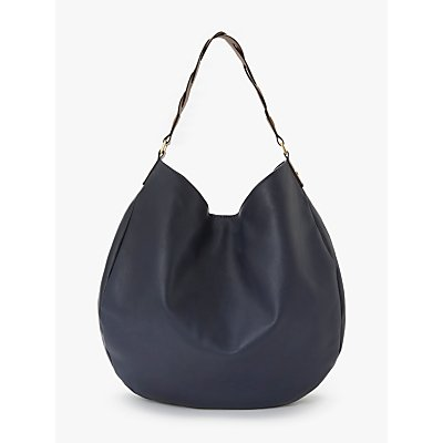 Boden Lingfield Slouchy Leather Shoulder Bag, Navy