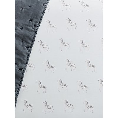 Pottery Barn Kids Organic Cotton Zebra Fitted Cot Sheet, 70 x 135cm, Blue