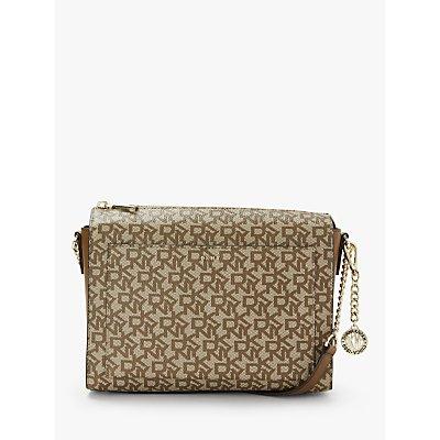 DKNY Bryant Logo Print Medium Box Top Zip Cross Body Bag, Chino/Vicuna
