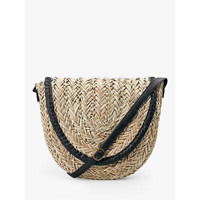 hush Palma Woven Straw Cross Body Bag, Neutral/Black