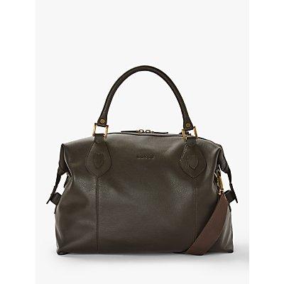 Barbour Leather Holford Explorer Holdall Bag, Dark Brown