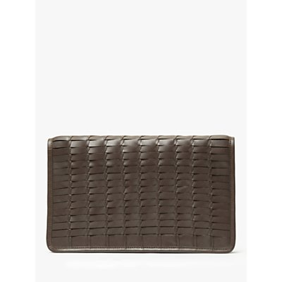 John Lewis & Partners Aria Leather Woven Clutch Bag, Chestnut