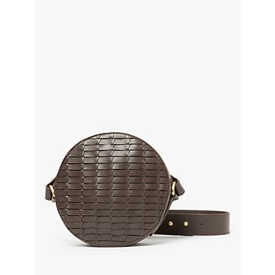 John Lewis & Partners Luna Leather Circle Cross Body Bag, Chestnut