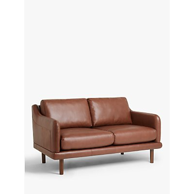 House by John Lewis Sweep Medium 2 Seater Leather Sofa, Dark Leg, Contempo Castanga