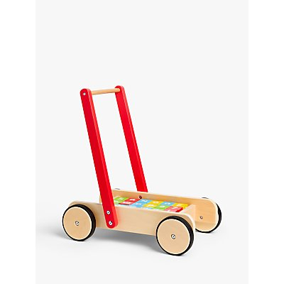 John Lewis & Partners Wooden Baby Walker and Bricks