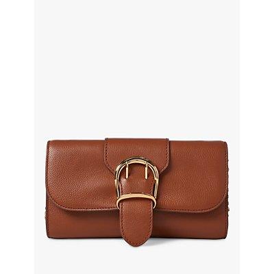 Lauren Ralph Lauren Medium Chain Strap Leather Clutch Bag, Tan