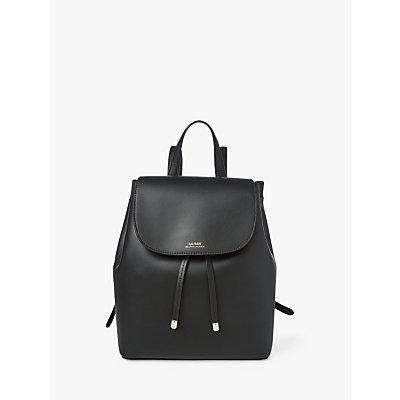 Lauren Ralph Lauren Dryden Leather Backpack, Black/Crimson