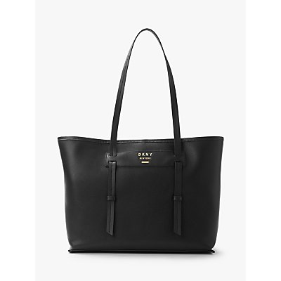 DKNY Warren East West Leather Tote Bag, Black/Gold