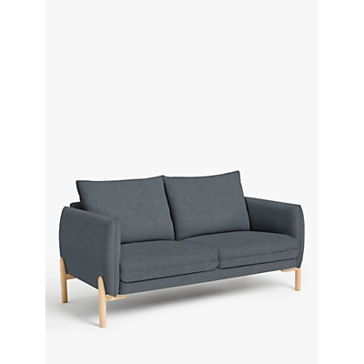 John Lewis & Partners Pillow Small 2 Seater Sofa, Light Leg, Hatton Steel