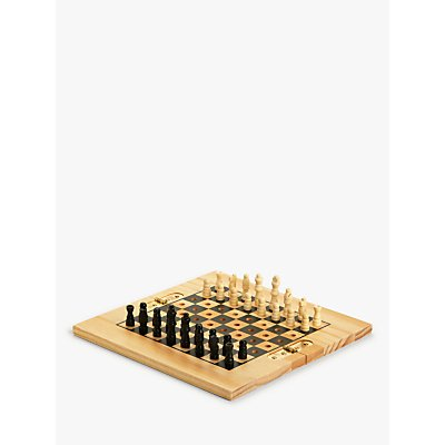 John Lewis & Partners Wooden Chess & Draughts Travel Game