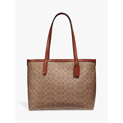 Coach Signature Central Zip Top Tote Bag, Tan/Rust