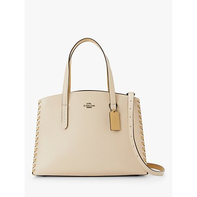 Coach Charlie Leather Whipstitch Carryall Tote Bag, Ivory/Multi