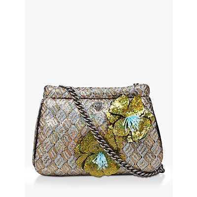 Kurt Geiger London Kensington Small Embellished Clutch Bag, Gold Mix