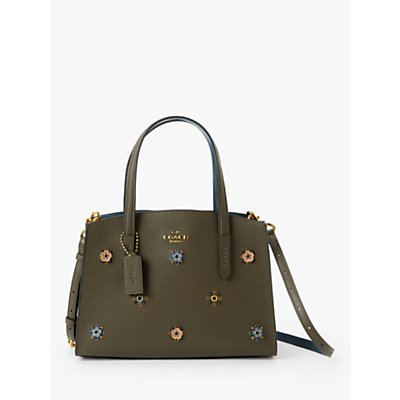 Coach Charlie 28 Leather Rivets Carryall Tote Bag, Moss