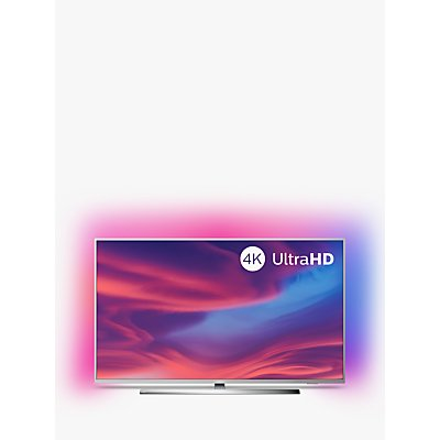 "Philips 43PUS7394 (2019) LED HDR 4K Ultra HD Smart Android TV, 43"" with Freeview HD, Ambilight & Dolby Atmos Sound, Silver"