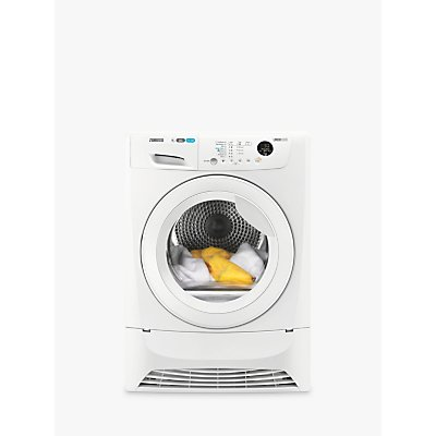 Zanussi ZDH8903W Heat Pump Condenser Tumble Dryer, 8kg Load, A+ Energy Rating, White