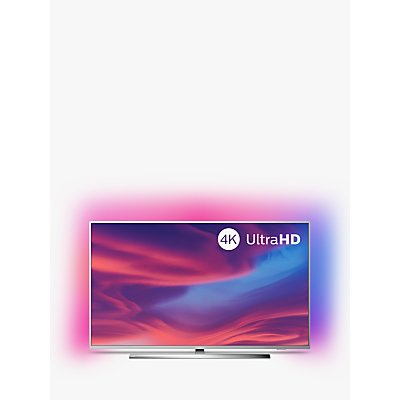 "Philips 50PUS7394 (2019) LED HDR 4K Ultra HD Smart Android TV, 50"" with Freeview HD, Ambilight & Dolby Atmos Sound, Silver"