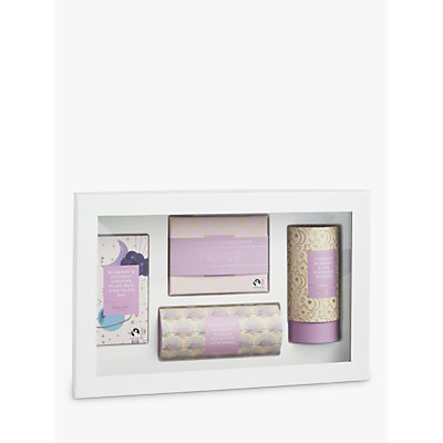 John Lewis & Partners Peace Blueberry & Coconut Chocolate, Biscuit, and Drink Infusion Gift Set, 407.5g