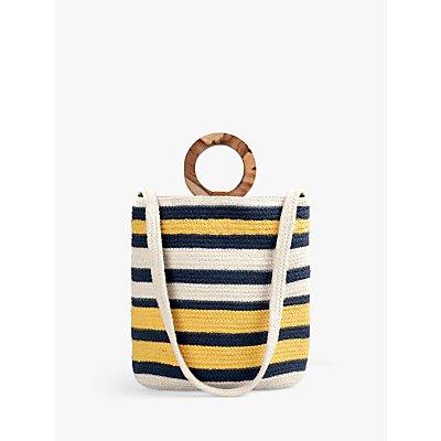 hush Positano Woven Stripe Shoulder Bag, Natural/Multi