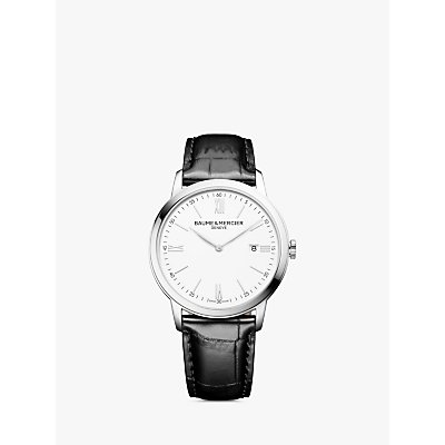 7613268953044 | Baume et Mercier M0A10414 Men s Classima Date Leather Strap Watch  Black White
