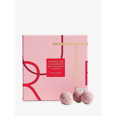 John Lewis & Partners Raspberry Marc de Champagne 16 Milk Chocolate Truffles, 160g