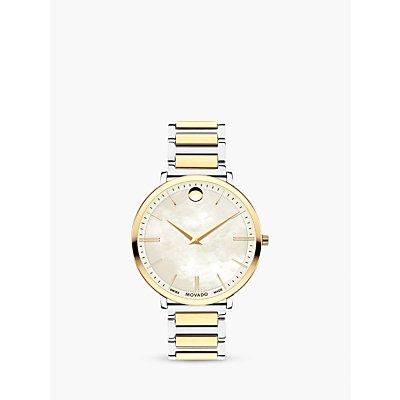 Movado 607171 Women s Ultra Slim Two Tone Bracelet Strap Watch  Silver Gold - 7613272252959