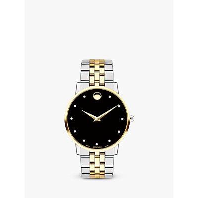 Movado 607202 Men s Museum Classic Diamond Two Tone Bracelet Strap Watch  Silver Gold - 7613272266673