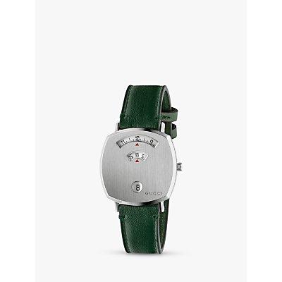 Gucci YA157412 Unisex Grip Date Leather Strap Watch  Green Silver - 0731903472792